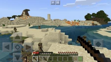 Игрок с оружием в руках идёт против солдат вражеской армии